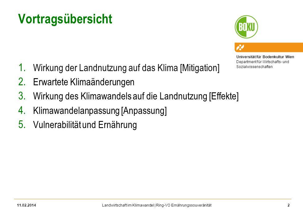 Vortragsübersicht Wirkung der Landnutzung auf das Klima [Mitigation]